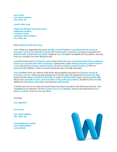 Free Cover Letter Template and Resume Cover Letter Examples - Free Resume Cover Letter Template