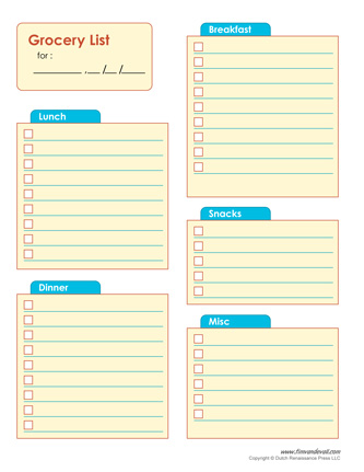 shopping list pdf - Ozilalmanoof - printable shopping list with categories