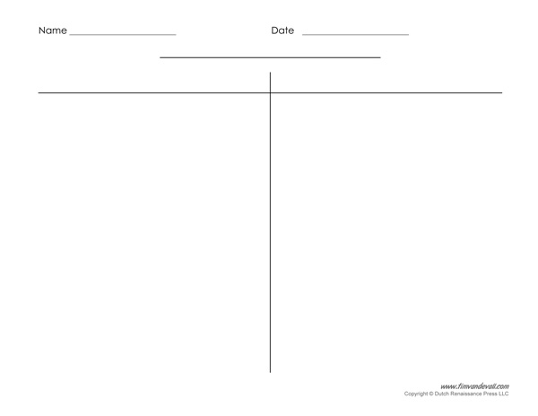 Blank T-Chart Templates Printable Compare and Contrast Chart PDFs - t chart template