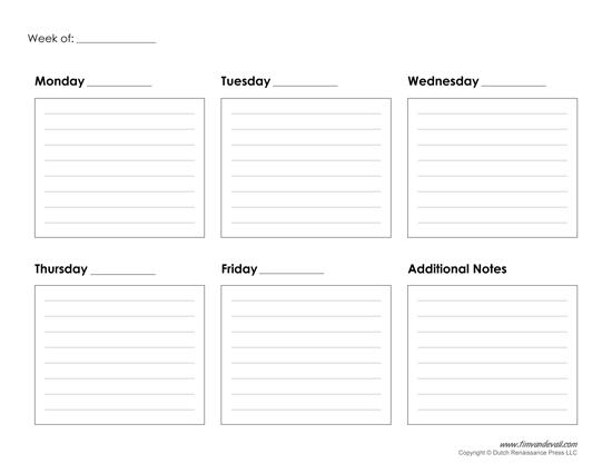 Printable Weekly Calendar Template - Free Blank PDF - printable calendar template