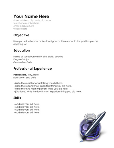 Free Resume Templates for Word and Pages and Sample Resume PDF - Resume Templates Pages