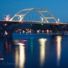 Bridge and Fireworks at Waldport, Oregon