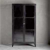 Metal Cabinet w. shelves and glass doors, black | Products ...