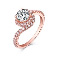 Tinnivi Rose Gold Sterling Silver Round Cut Created White ...