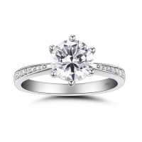 Round Cut White Sapphire 0.5CT 925 Sterling Silver Promise ...