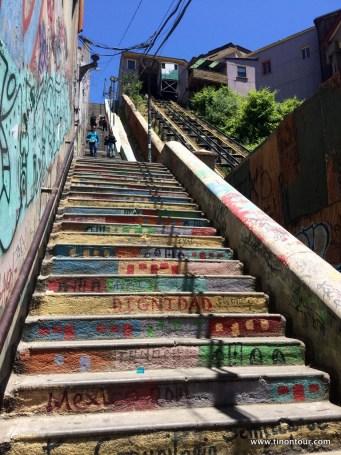 bunte Treppen oder alternativ daneben der Lift