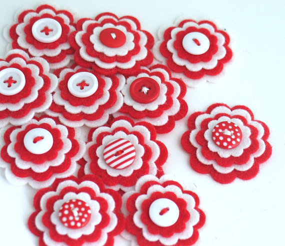 Valentine Felt Flowers by thejellybeanstudio
