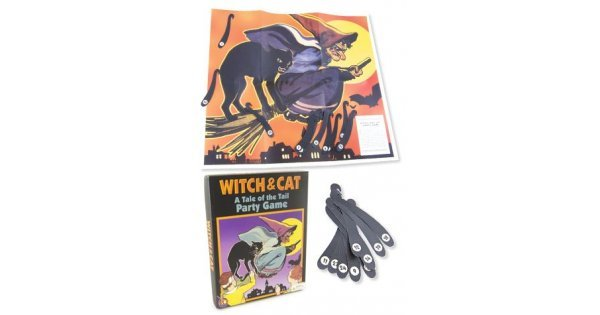 Witch And Cat Party Game Pin The Tail Halloween Party Retro