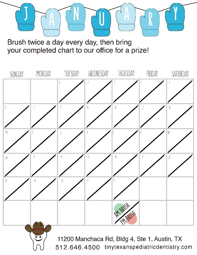 Tiny Texans Pediatric Dentistry Blog January Tooth Brushing Chart