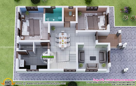 1730 Square Feet 3 Bedroom Double Floor Sloping Roof Home Design - total 3d home design