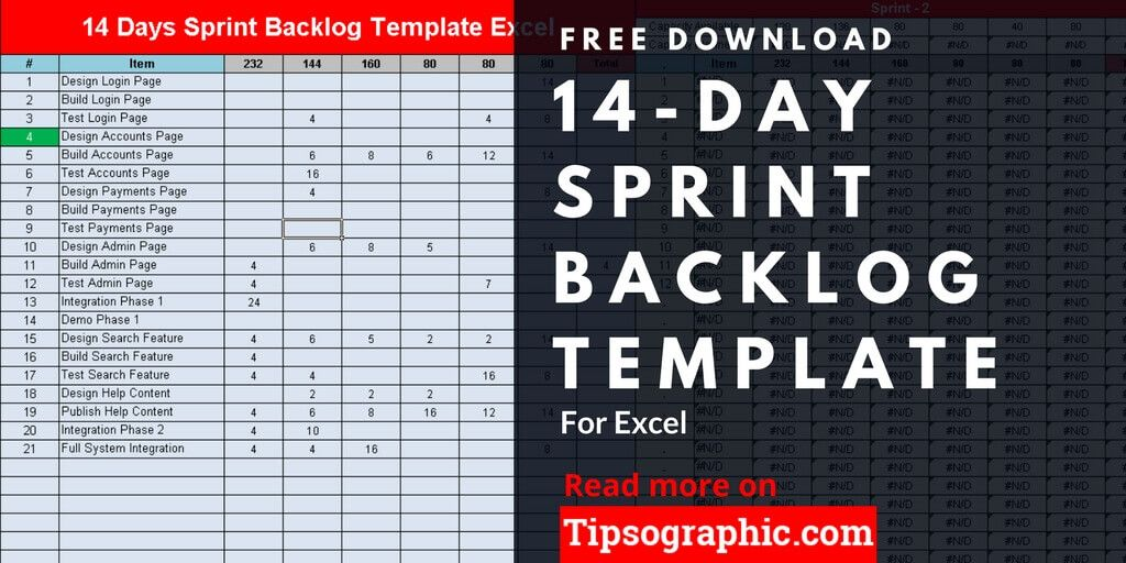 14 Day Sprint Backlog Template for Excel, Free Download Tipsographic