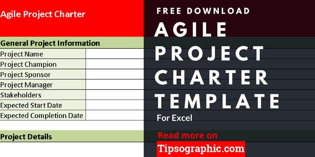 Agile Project Charter Template for Excel, Free Download Tipsographic - project charter template