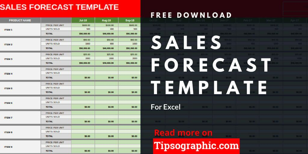 Sales Forecast Template for Excel, Free Download Tipsographic