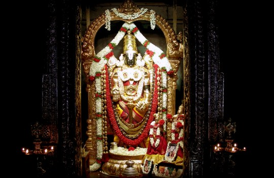 Lord Sri Venkateswara In The Garbha Griha Of A Temple