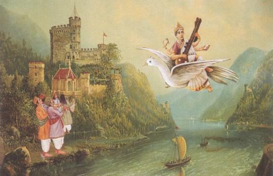 An Amazing Painting Of Goddess Saraswathi