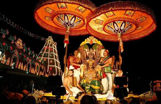 A Procession During Tirumala Brahmotsavams
