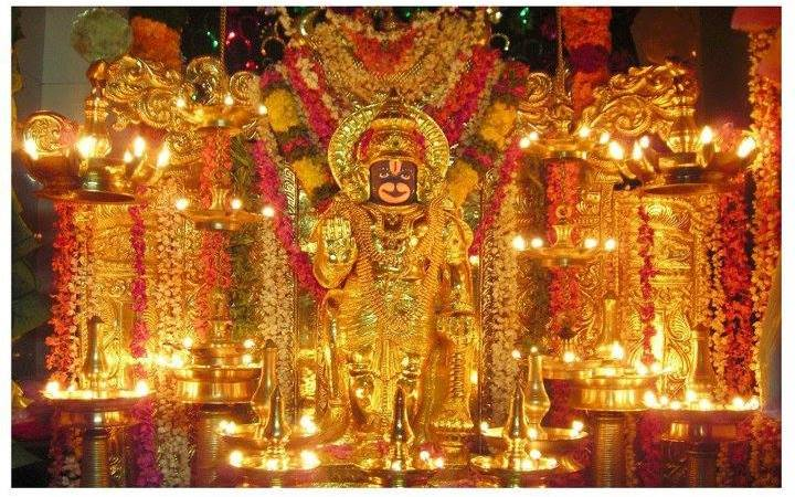 Lord Hanuman Decorated With Lamps