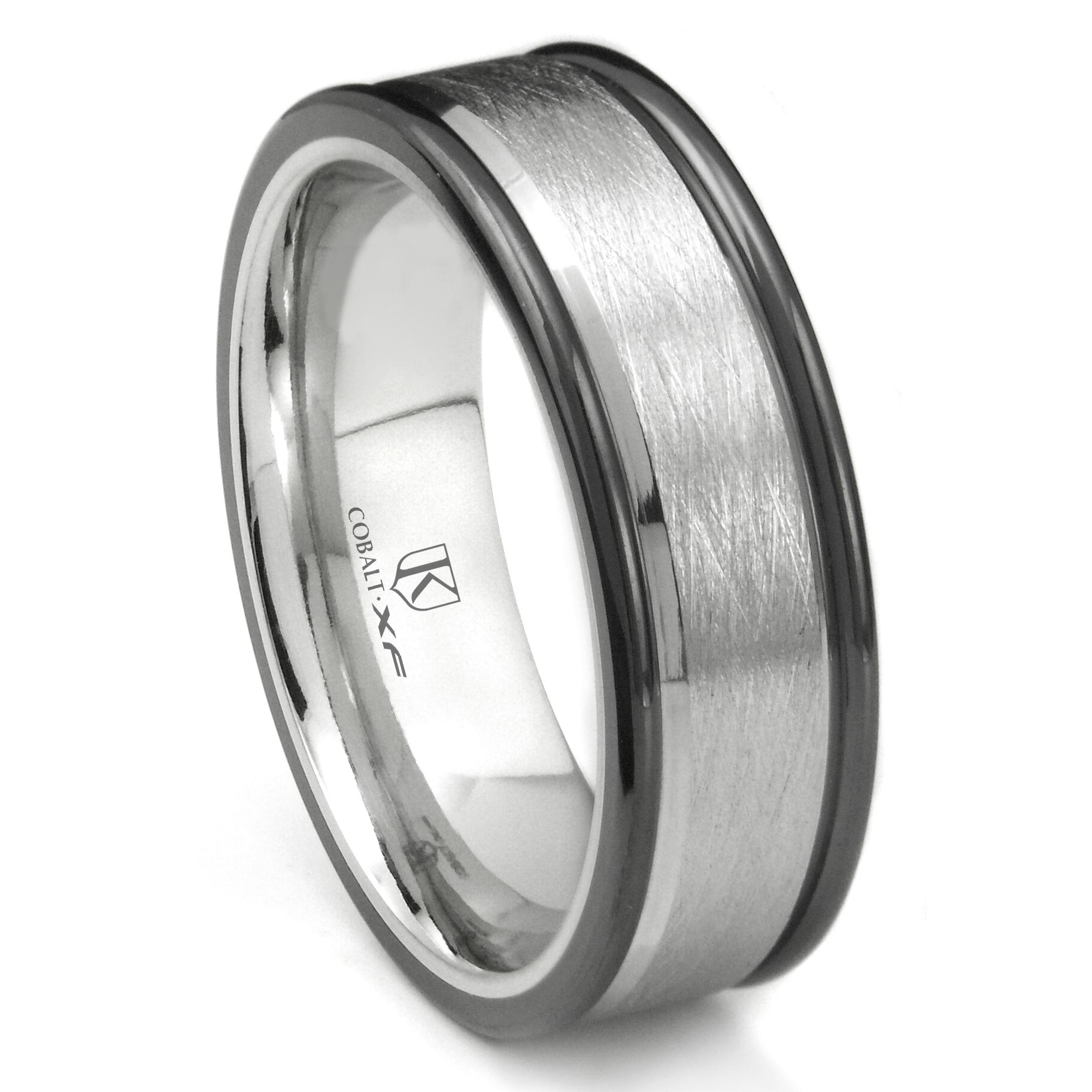 Cobalt XF Chrome 8MM Italian Di Seta Finish Two Tone Wedding Band Ring P cobalt wedding rings Home Cobalt Rings Loading zoom