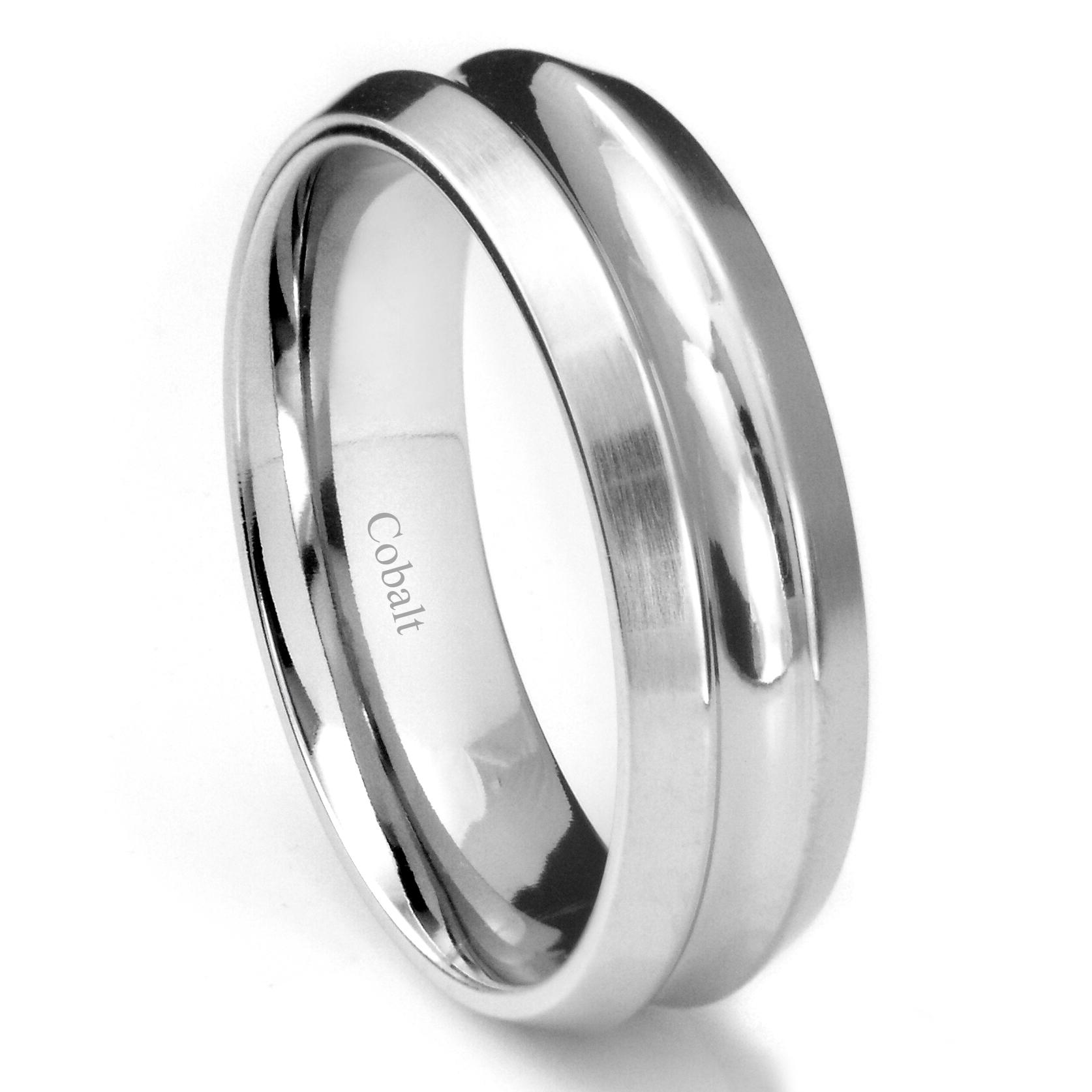 Cobalt XF Chrome 8MM Concave Wedding Band Ring w Beveled Edges P cobalt wedding rings Home Cobalt Rings Loading zoom