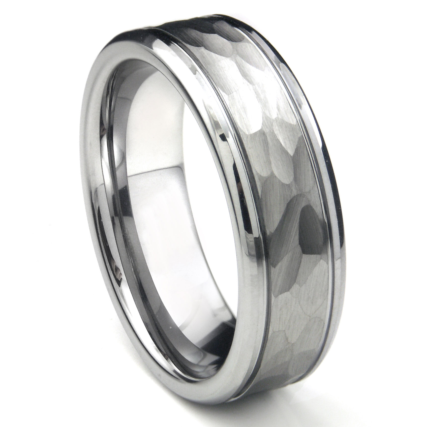 Tungsten Carbide Hammer Finish Wedding Band Ring w Grooves P titanium wedding band Loading zoom