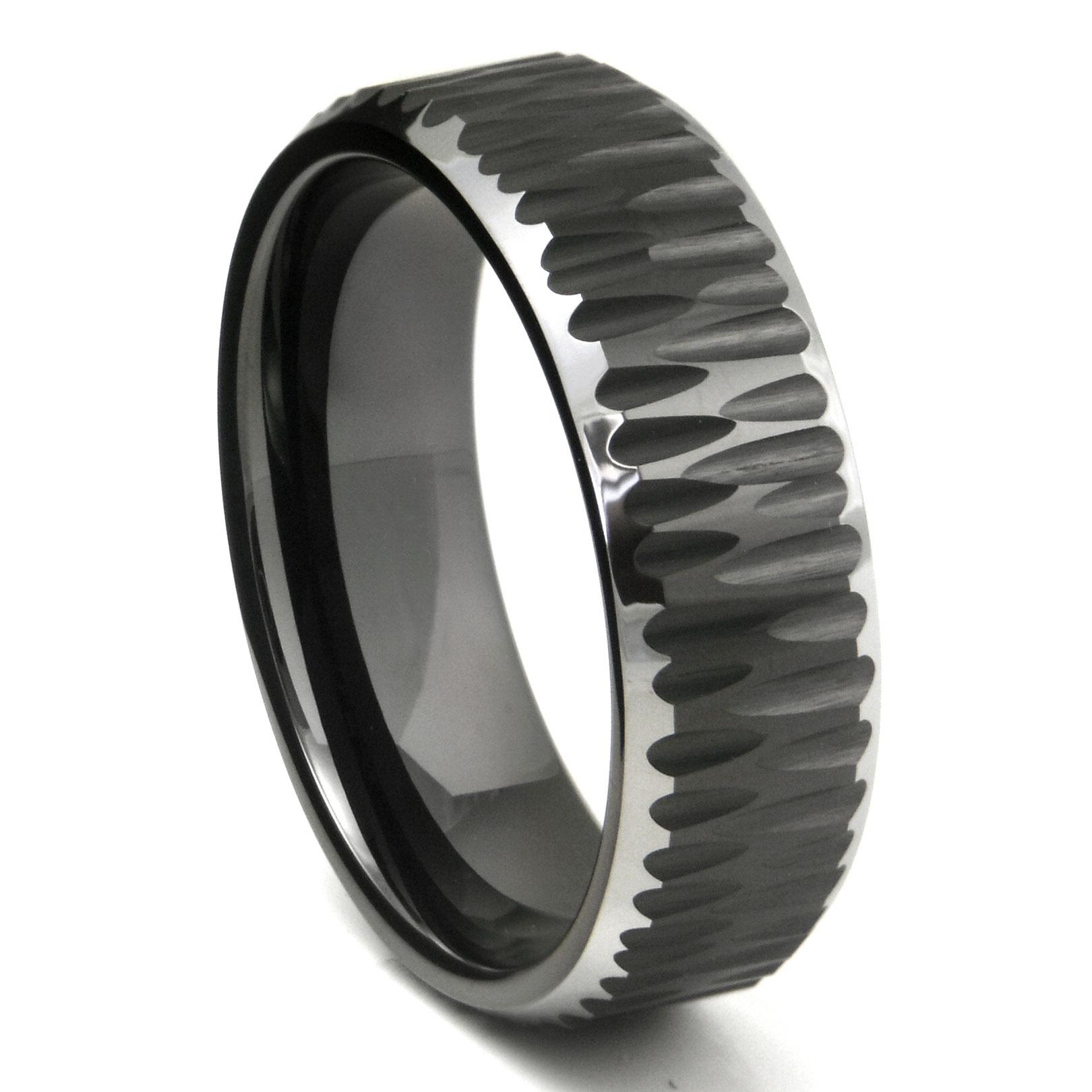 Black Tungsten Carbide Hammer Finish Beveled Wedding Band Ring P tungsten carbide wedding band Home Men s Tungsten Carbide Rings Loading zoom