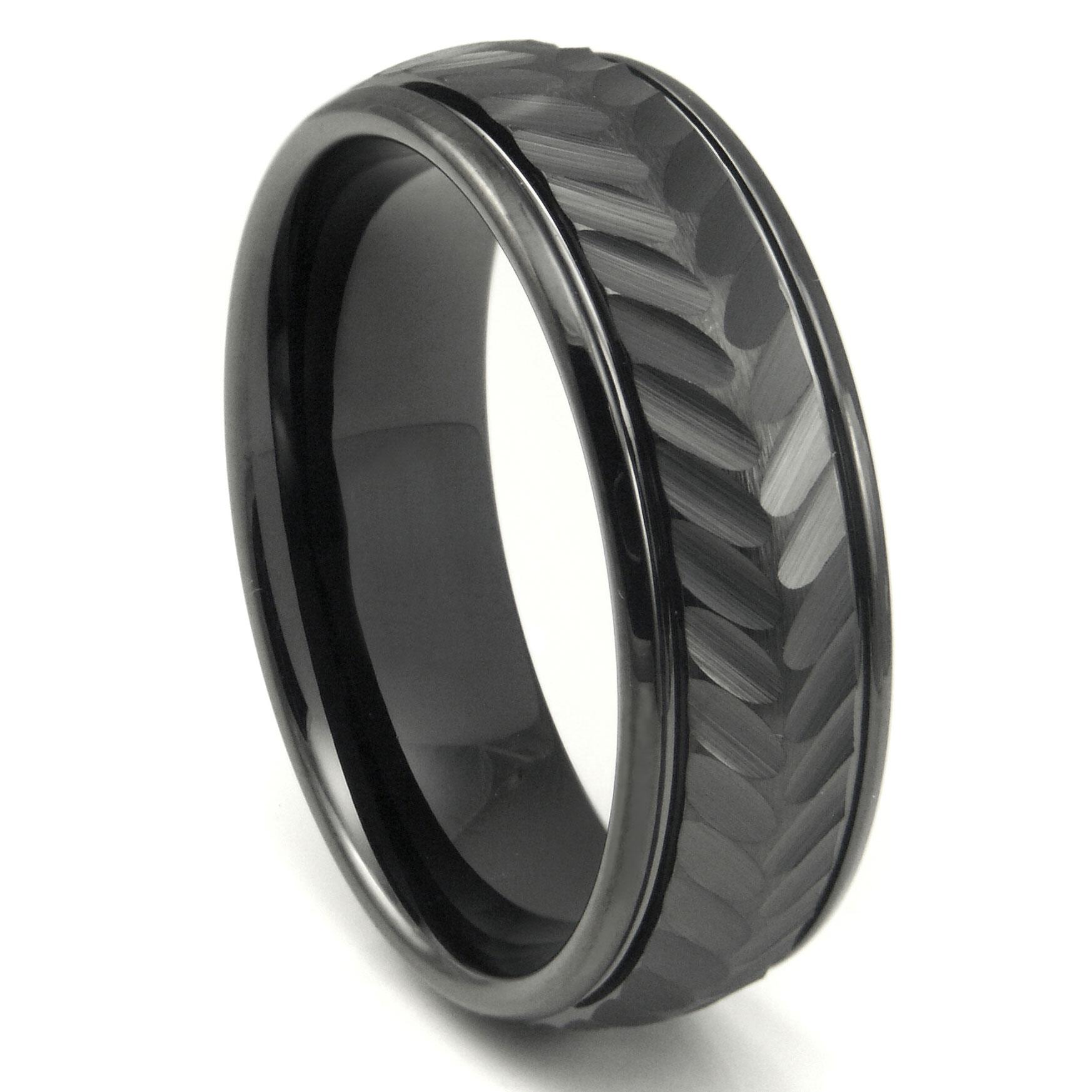 Black Tungsten Carbide 8MM Chevron Newport Wedding Band Ring P tungsten carbide wedding band Home Men s Tungsten Carbide Rings Loading zoom