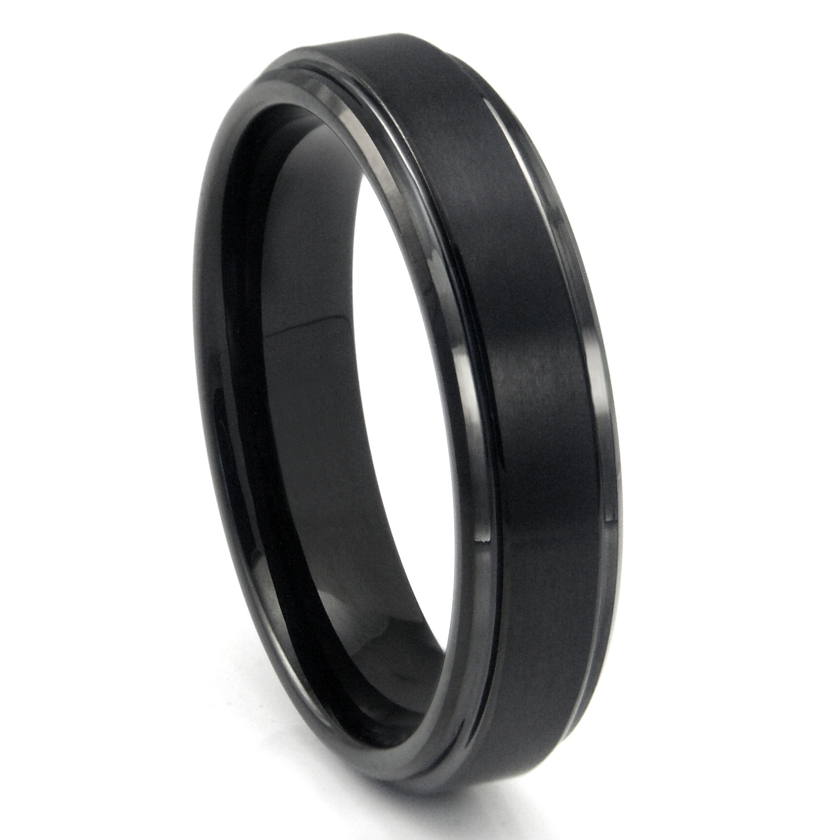 Black Tungsten Carbide Wedding Band Ring w Raised Center P tungsten carbide wedding band Home Men s Tungsten Carbide Rings Loading zoom