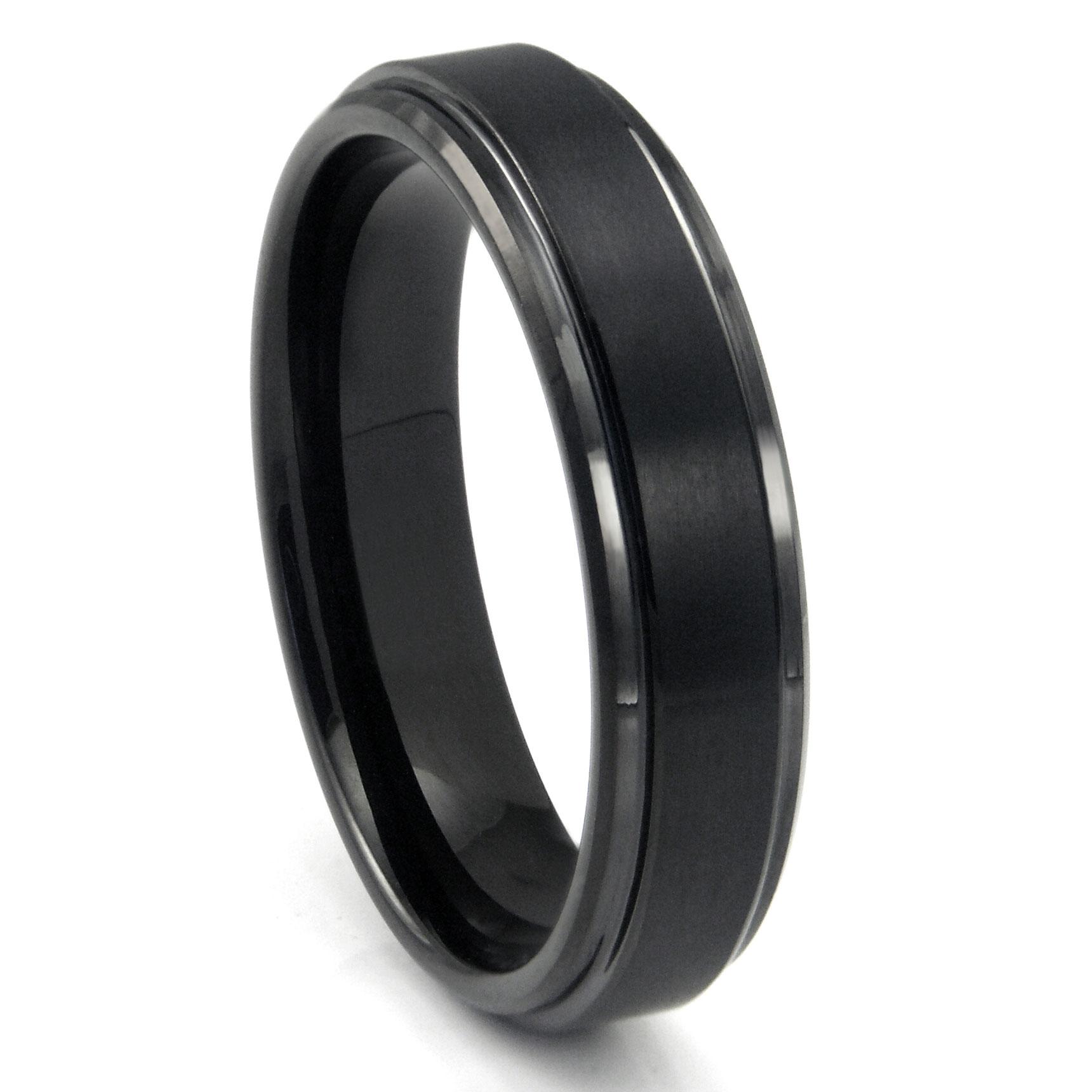 Mens Tungsten Carbide Rings 1 grey tungsten wedding bands Black Tungsten Carbide Wedding Band Ring w Raised Center