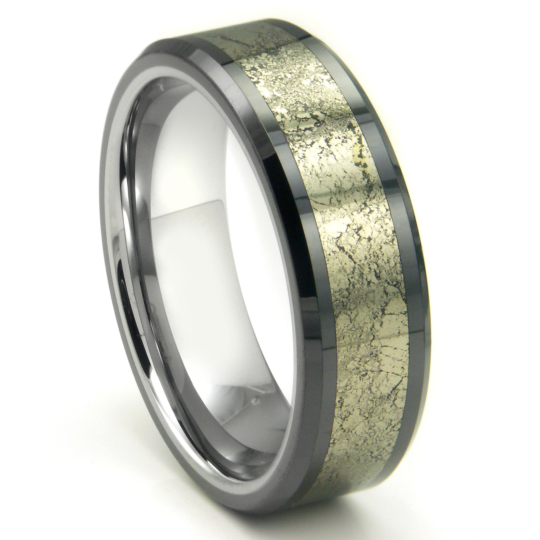 Tungsten Carbide Golden Meteorite Inlay Wedding Band Ring P titanium mens wedding band Loading zoom