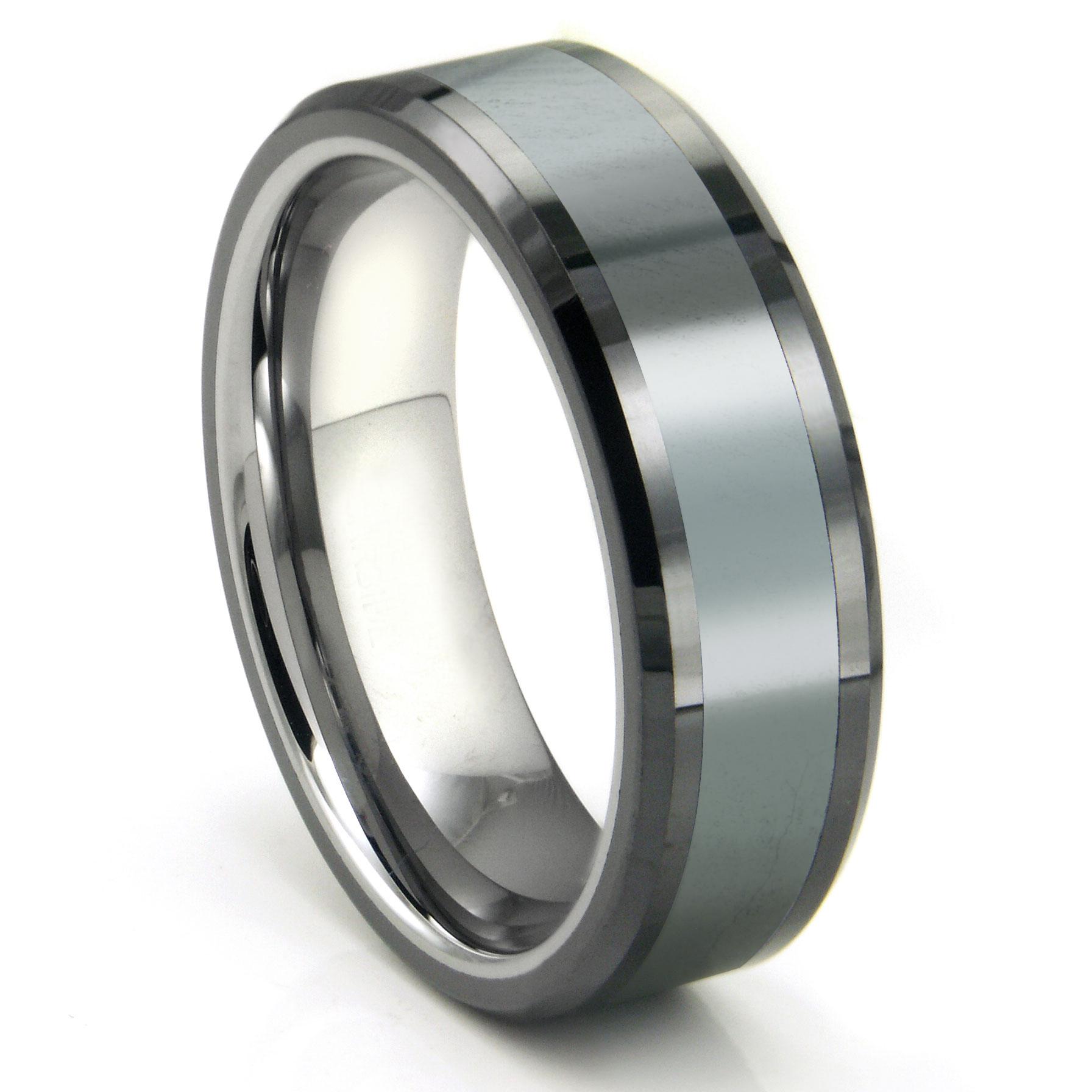 Mens Tungsten Carbide Rings mens titanium wedding rings Tungsten Carbide Grey Meteorite Inlay Wedding Band Ring