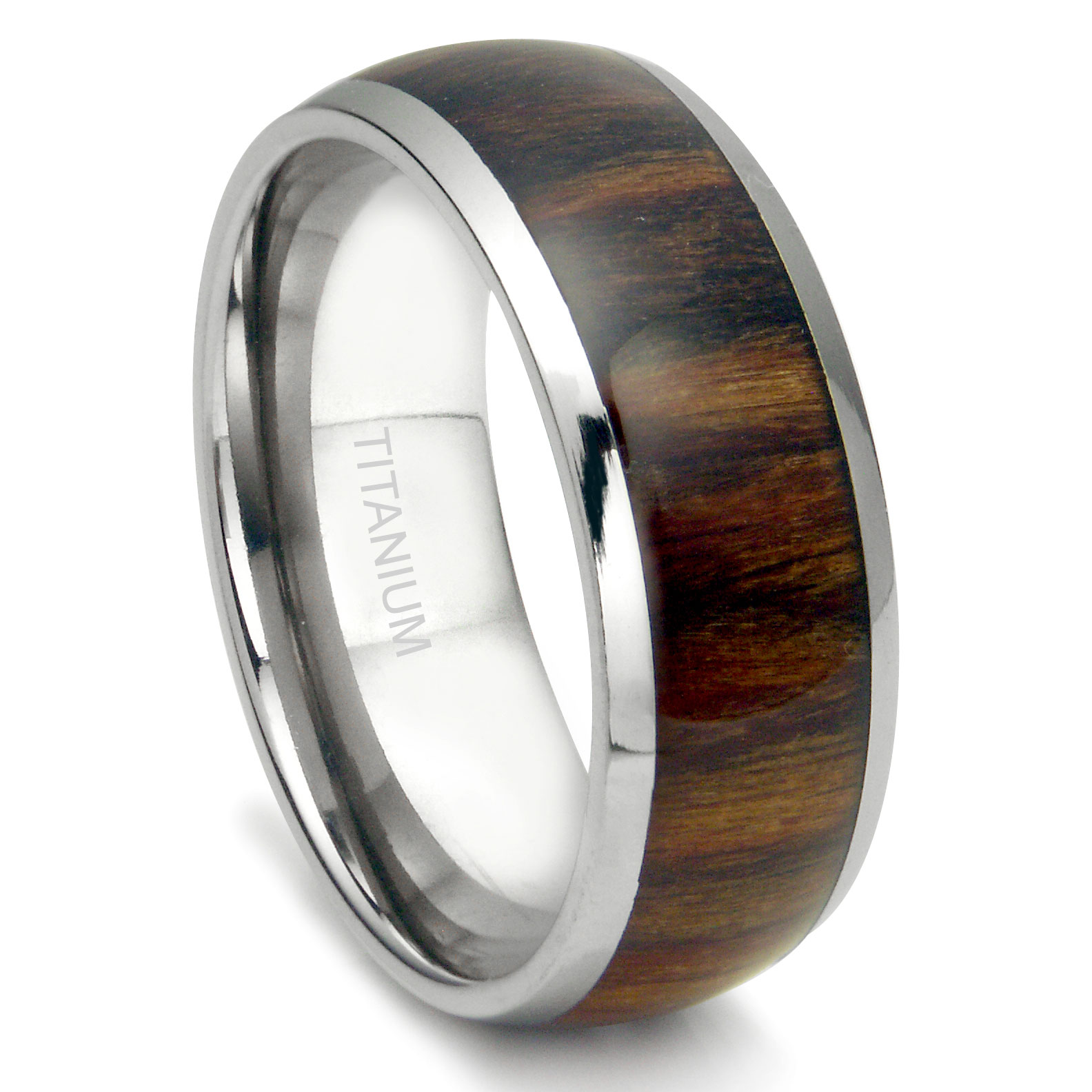 Titanium 8MM Domed Santos Rosewood Inlay Wedding Band Ring P duck band wedding ring Loading zoom
