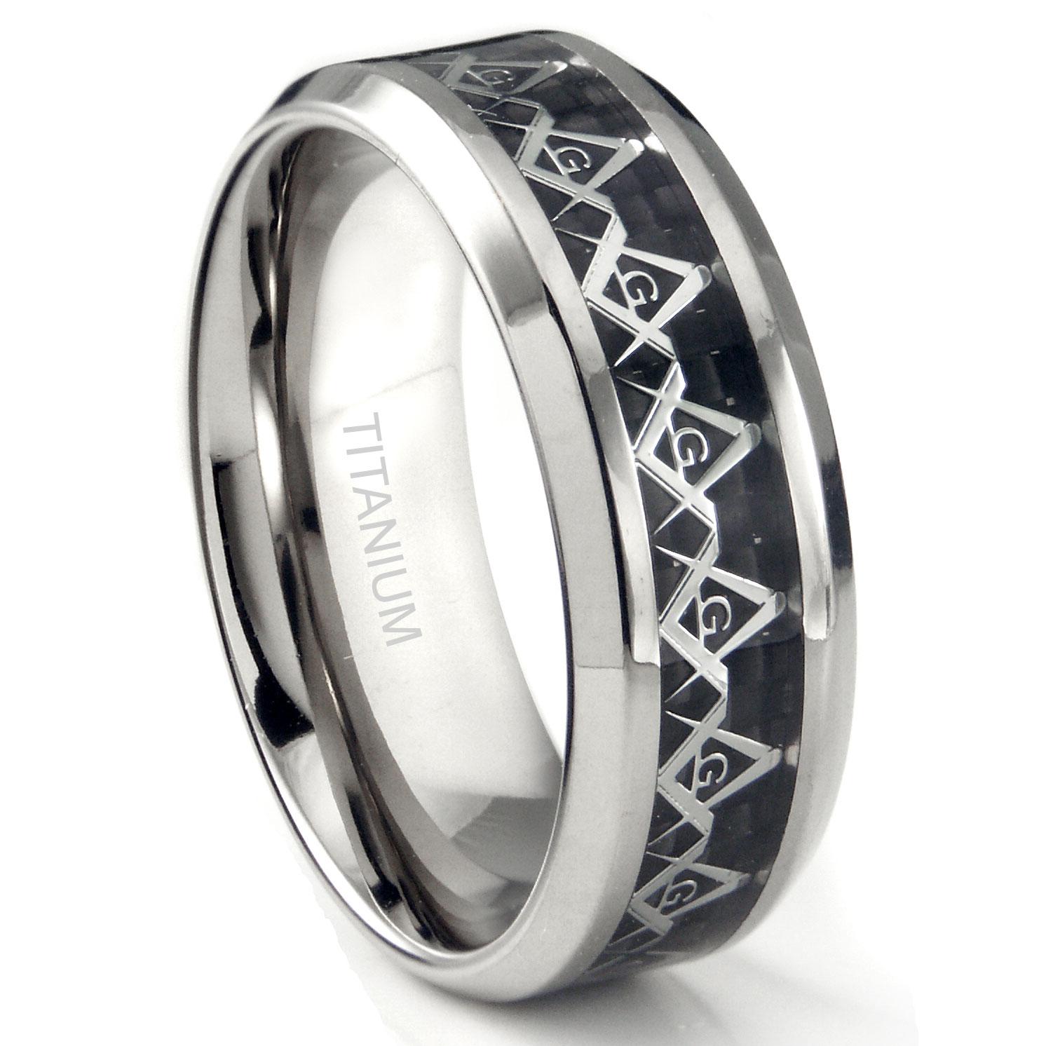 Titanium 8MM Masonic Symbol Inlay over Black Carbon Fiber Inlay Wedding Band Ring P titanium wedding band Home Men s Titanium Wedding Rings Loading zoom