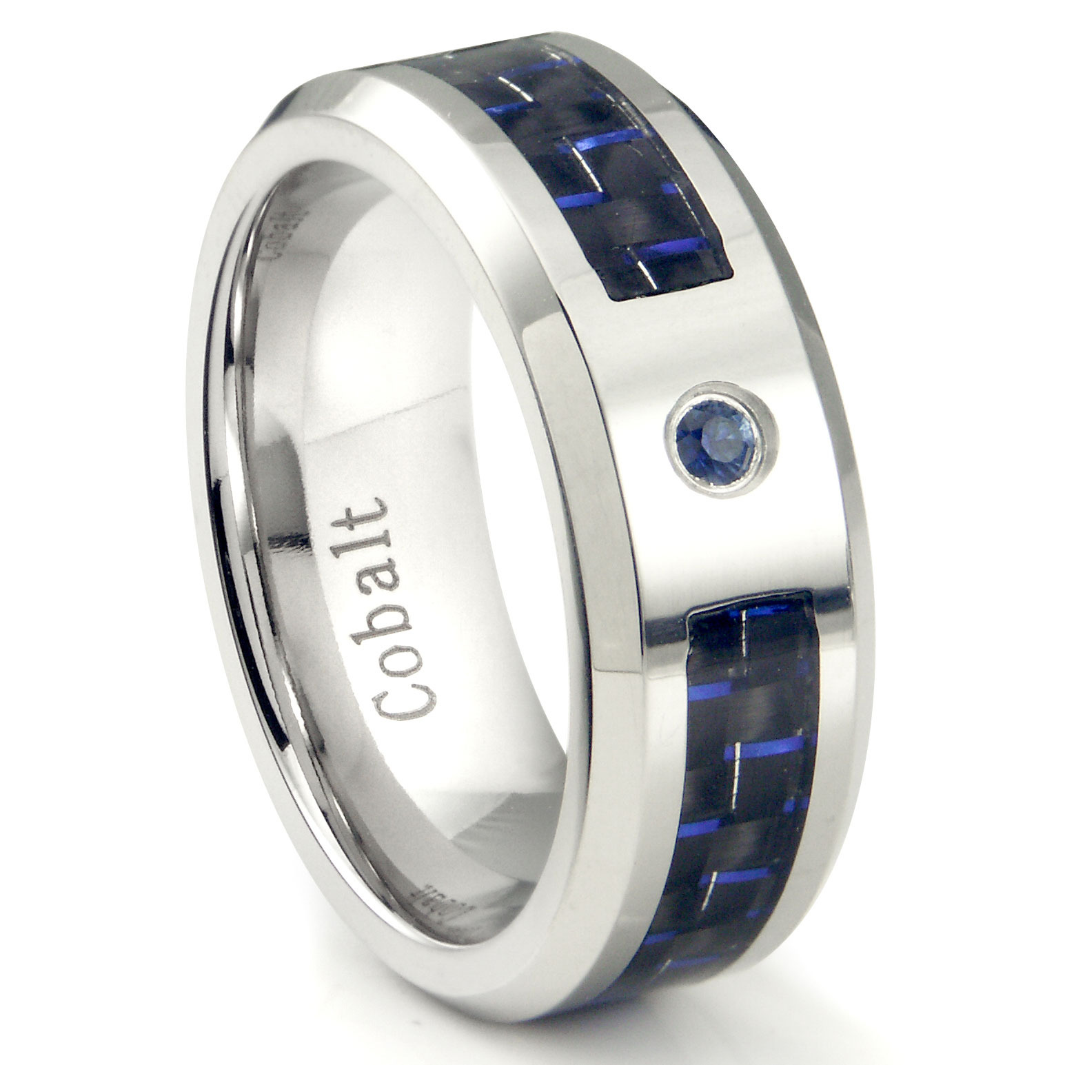 Cobalt Chrome 8MM Blue Sapphire Blue Carbon Fiber Inlay Wedding Band Ring P sapphire wedding bands Loading zoom