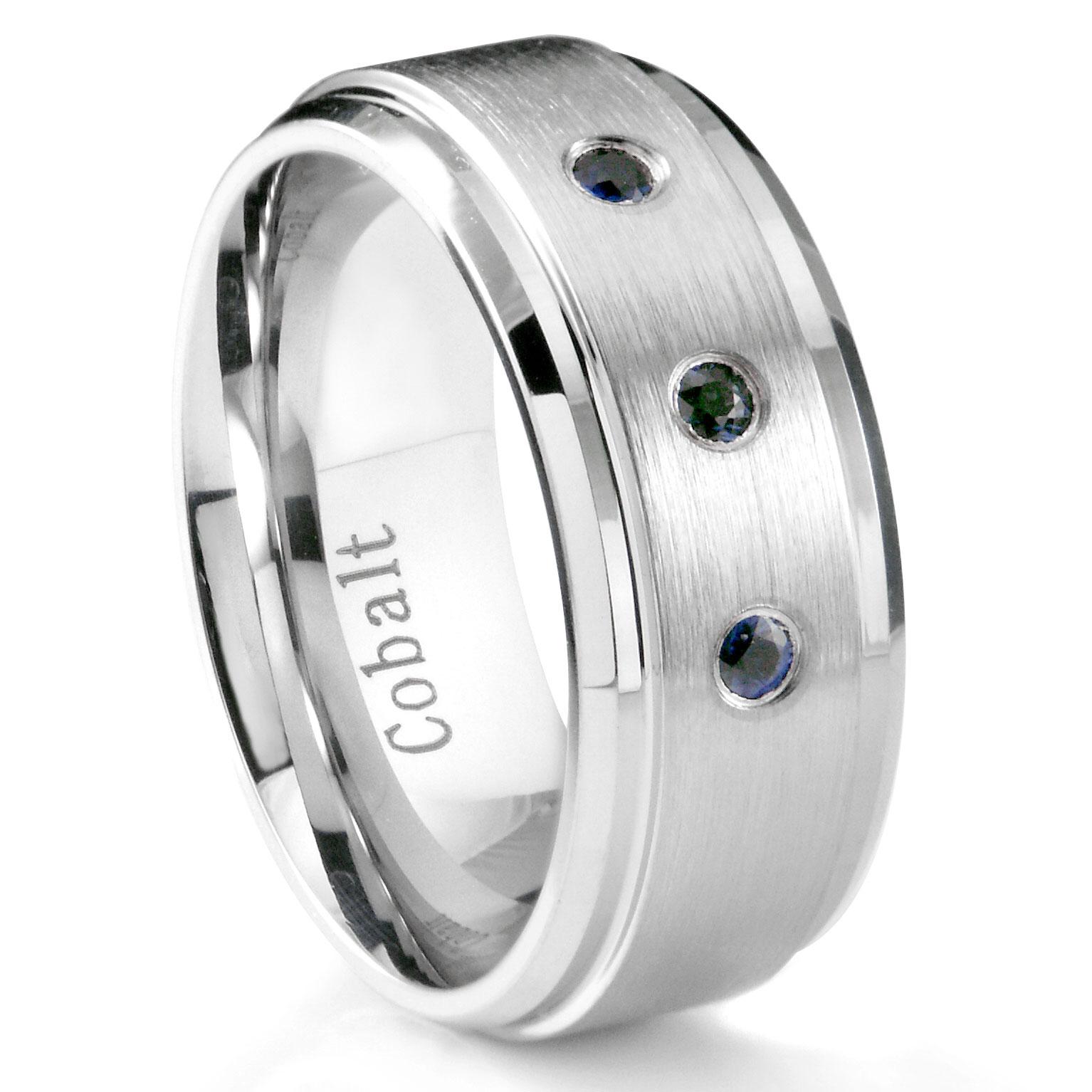 Cobalt Chrome 8MM 3 Blue Sapphire Wedding Band Ring w Stepped Edges P cobalt wedding rings Home Cobalt Rings Loading zoom