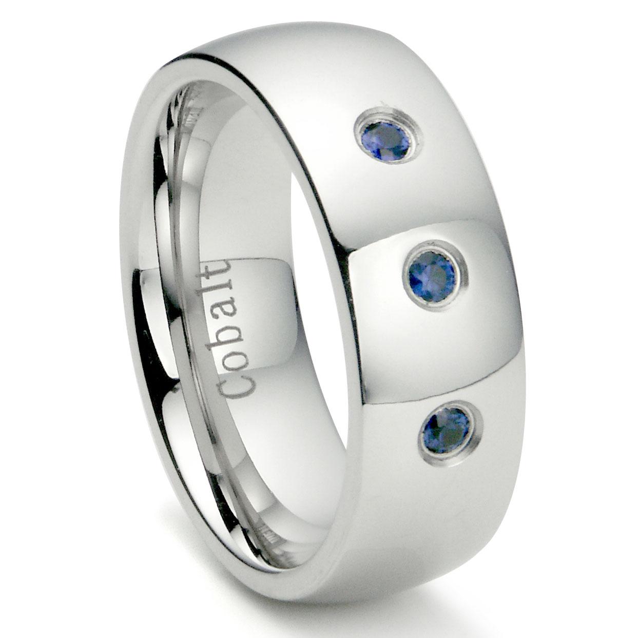 Cobalt Chrome 8MM 3 Blue Sapphire Domed Wedding Band Ring P cobalt wedding rings Home Cobalt Rings Loading zoom