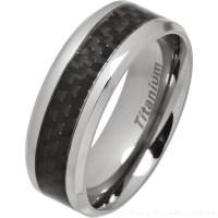 Men's 8mm Titanium Ring with Black Carbon Fibre Inlay