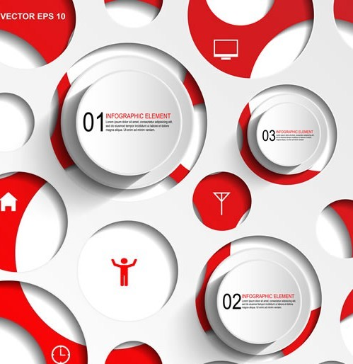 Free Red And White Number Labels For Infographic Design Vector 01