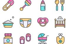 12 Cute Baby Icons Vector