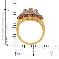 Malaya Garnet (Ovl) Diamond Ring in 14K Gold Overlay ...