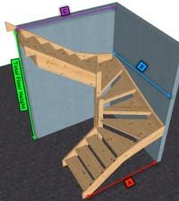 Pine open Staircase > 6 kite Winder Stair | eBay