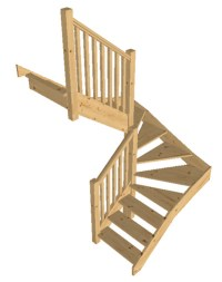 Pine open Staircase > 6 kite Winder, Posts & Balustrade | eBay
