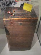 Ballot box used in first secret ballot to elect a Member of Parliament. Pontefract Museum, UK. Photo by User Rept0n1x at Wikimedia Commons.
