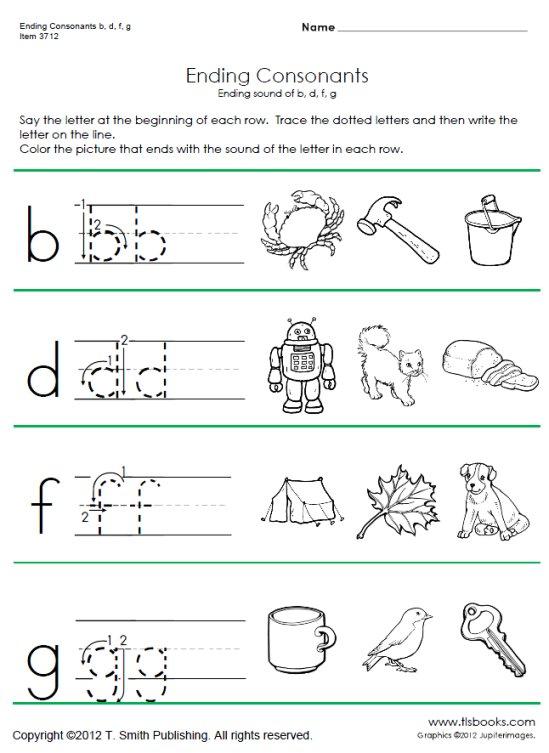 Ending Consonant Phonics Worksheets - phonics worksheet