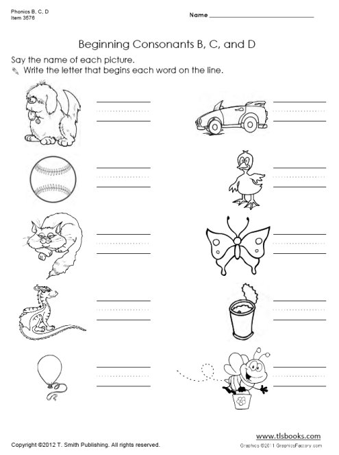 Phonics B, C, D Worksheet Set