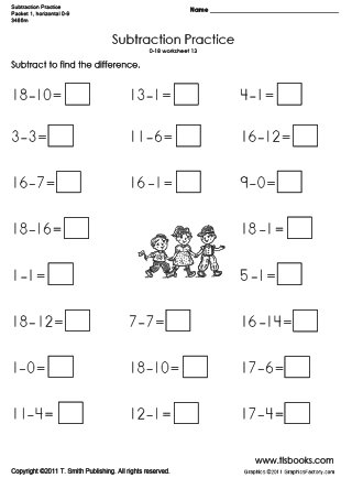 Horizontal Subtraction Packet 1 - horizontal subtraction facts worksheet