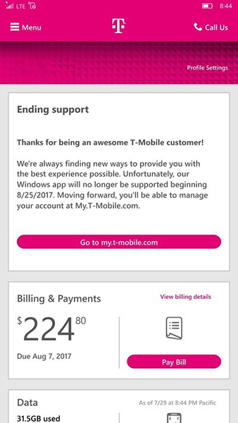 T-Mobile ending support for its Windows phone app on August 25th - my tmobile com