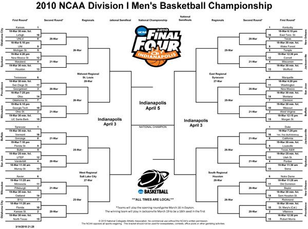 March Madness 2010 NCAA Men\u0027s Basketball Tournament Printable