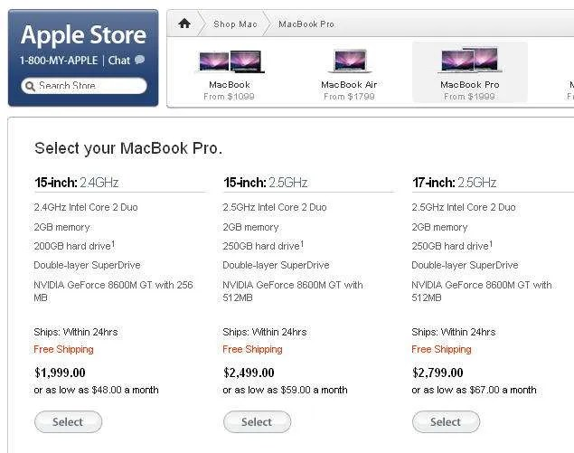 Macbook Pro - Apple Store page - October 13, 2008