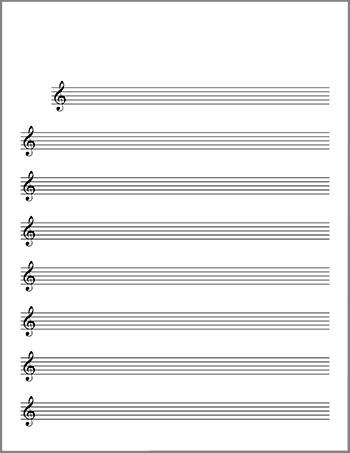 Blank Sheet Music Lead Sheet, Treble Clef