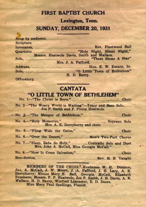 First Baptist Church of Lexington 1931 Christmas Program